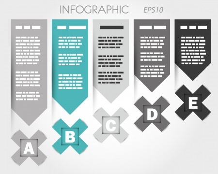 magazine page: turquoise infpgraphic with x and labels. infographic concept.