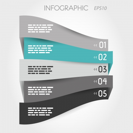 blank newspaper: turquoise perspective infographic with 5 options. infographic concept.