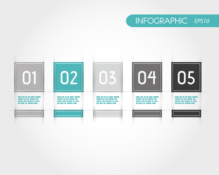 turquoise square infographics with fringe. infographic concept.