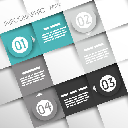 turquoise square infographic four options with big rings. infographic concept. Vector
