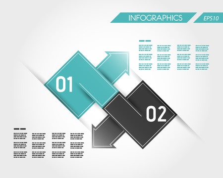 turquoise square infographic two connected arrows. infographic concept.