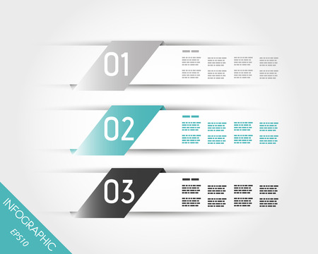turquoise transparent three oblique stickers. infographic concept.