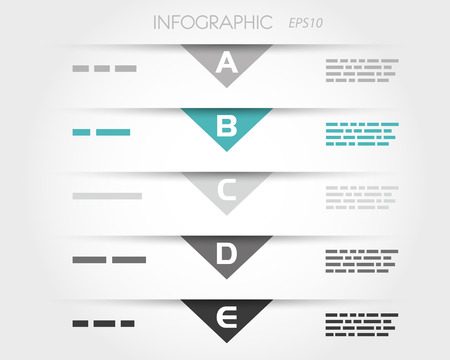 pamphlet: turquoise transparent triangular infographic five options. infographic concept. Illustration