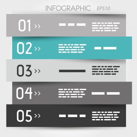 turquoise zig zag five options. infographic concept. 向量圖像