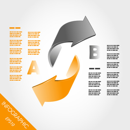 two orange infographic 3d arrows. infographic concept. Vector