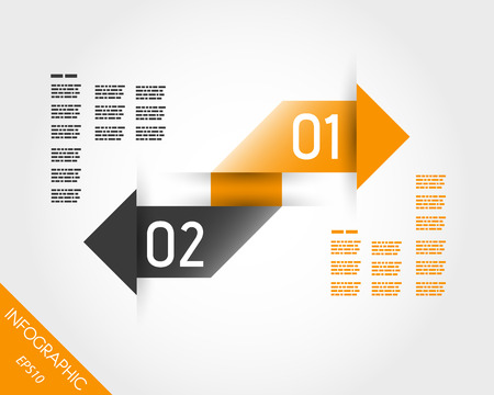 two arrows: two orange infographic connectes arrows. infographic concept. Illustration