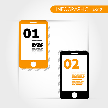 two orange infographic mobile phones. infographic concept. Vector