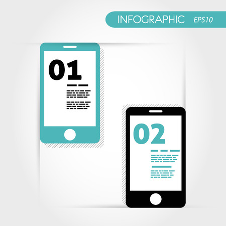 two turquoise infographic mobile phones. infographic concept. Vector