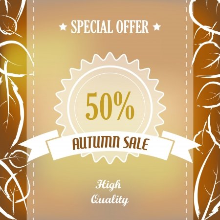 autumn sale with quality ribbon and leaves. sale concept Vector