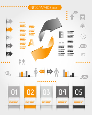 big orange infographics with two arrows. infographic concept. Иллюстрация