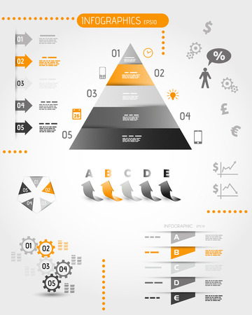 big orange pyramid infographic set. infographic concept.