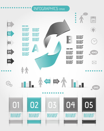 big turquoise infographics with two arrows. infographic concept. Stock Vector - 22395447