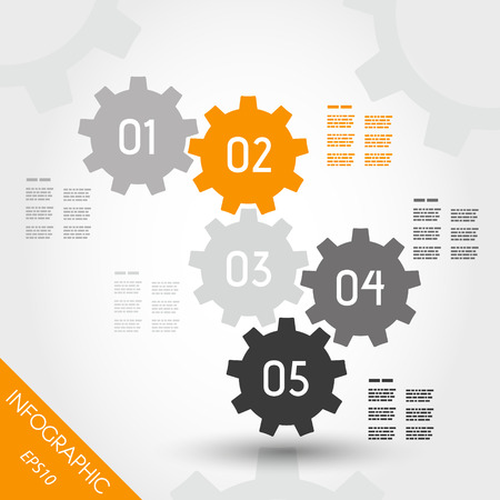 five orange full infographic gears. infographic concept. Illustration