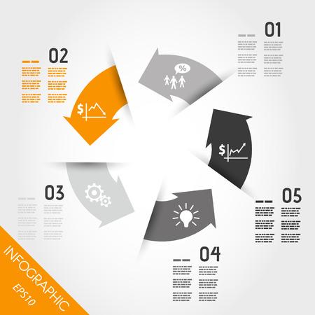 five orange infographic arrows with icons. infographic concept. Stock Illustratie