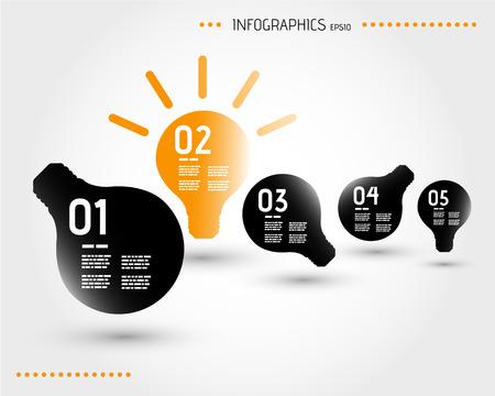 five orange infographic bulbs. infographic concept.