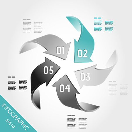 five turquoise infographic 3d arrows in center. infographic concept. Stock Vector - 22395587