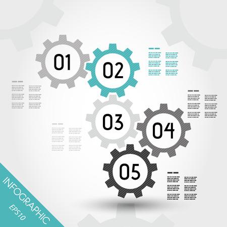 five turquoise infographic gears. infographic concept. 版權商用圖片 - 22395592