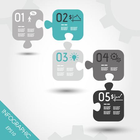 five turquoise infographic puzzle with business icons. infographic concept.