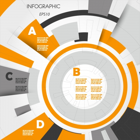 leaflet design: orange abstract technical infographic rings with letters. infographic concept. Illustration