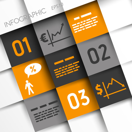 economical: orange and grey infographic squares with economical icons. infographic concept.