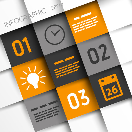 blank magazine: orange and grey infographic squares with time icons. infographic concept. Illustration