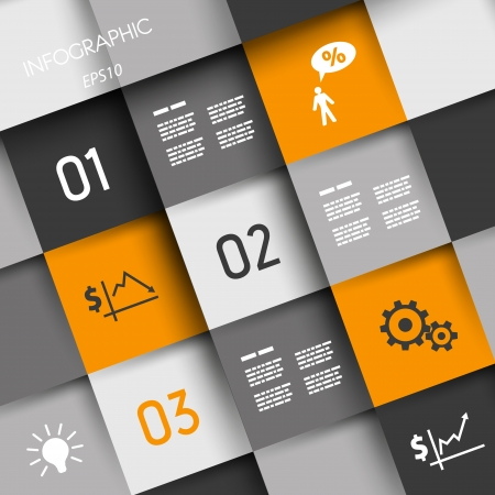 info graphic: orange and grey squares with business icons. infographic concept.