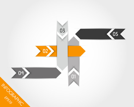 orange arrows elements with numbers. infographic concept. Vector