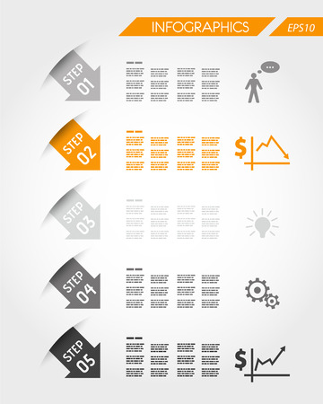 orange arrows with five icons. infographic concept. Vector