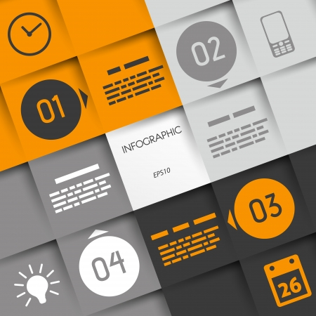 info graphic: orange big square infographic four options with rings and business icons. infographic concept.