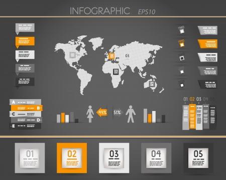 orange dark world square infographic. infographic concept.