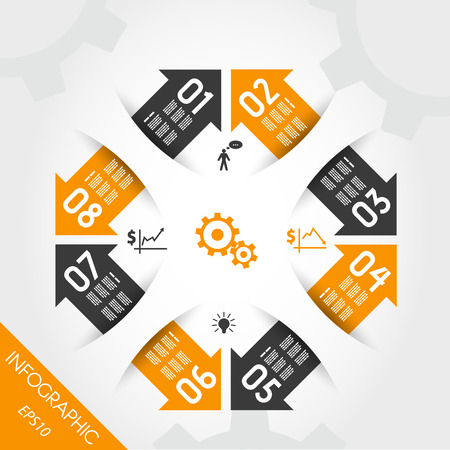 orange infographic element with eight arrows. infographic concept. Vector