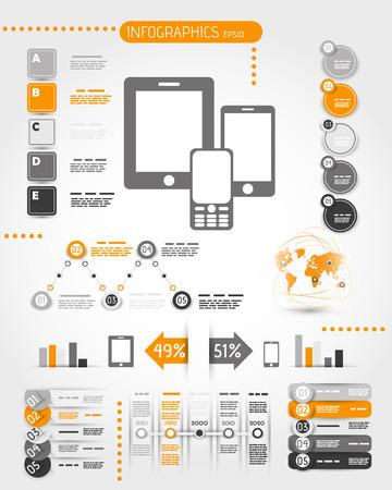 디지털: 오렌지 휴대 전화 세계 인포 그래픽. 인포 그래픽 개념.
