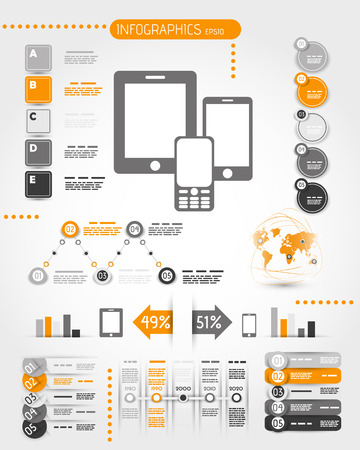 digital: orange mobile phone world infographics. infographic concept. Illustration