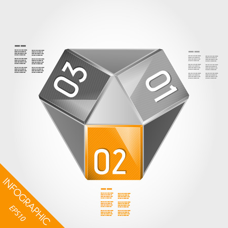 orange paper innfographic element with three options. infographic concept. Stock Vector - 22395834