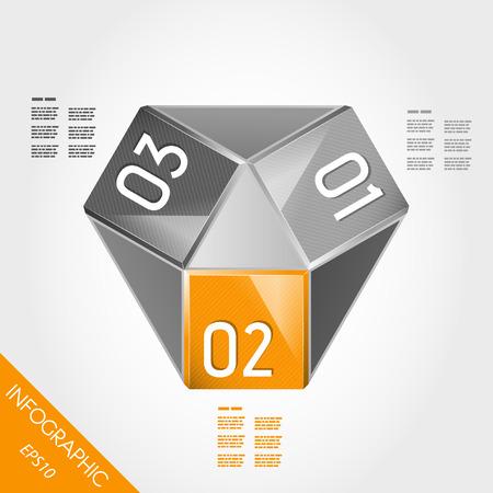 three orange: orange paper innfographic element with three options. infographic concept.