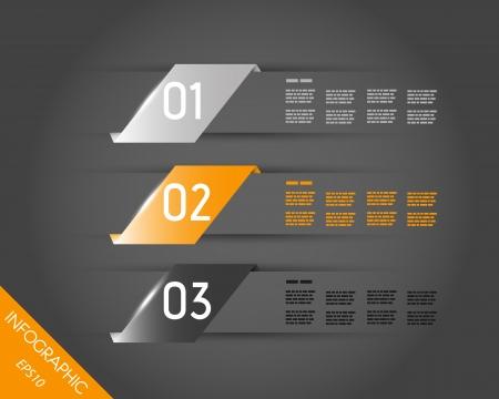 prospectus: orange shiny transparent three oblique stickers. infographic concept.