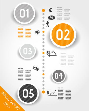 orange timeline with business icons. infographic concept.