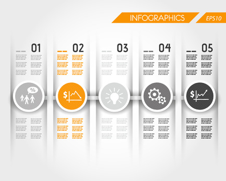 button layout: orange timeline with business ring icons. infographic concept.