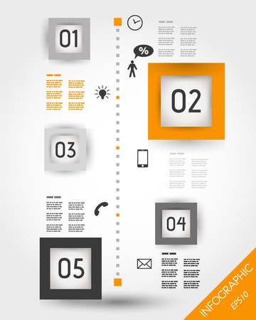 five element: orange timeline with squares and icons. infographic concept.