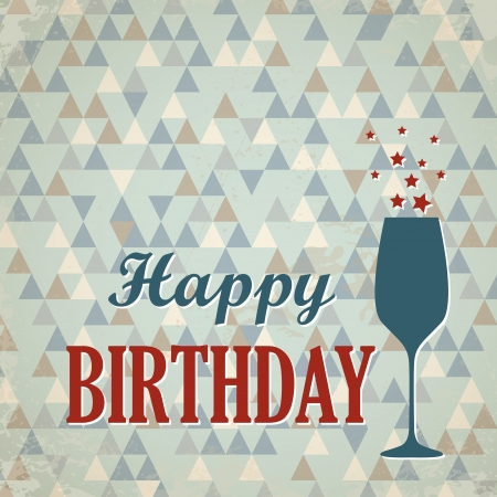 wine card: red and blue retro triangular happy birthday card with wine glass. happy birthday concept Illustration