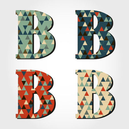 retro letter B, triangular alphabet Vector
