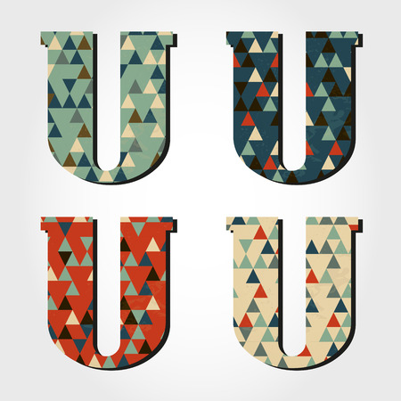 retro letter U, triangular alphabet Vector