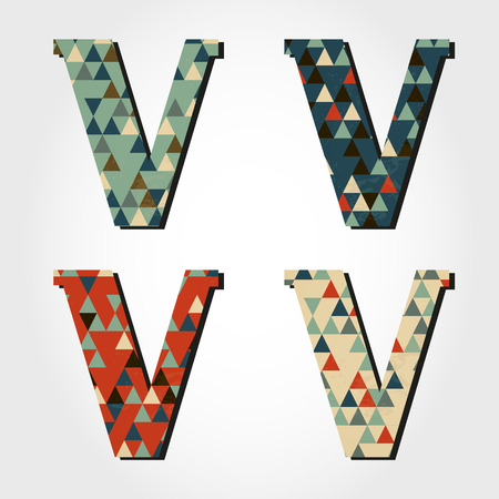 retro letter V, triangular alphabet Vector