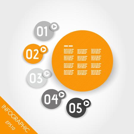 three six orange infographic striped rings. infographic concept. Illustration