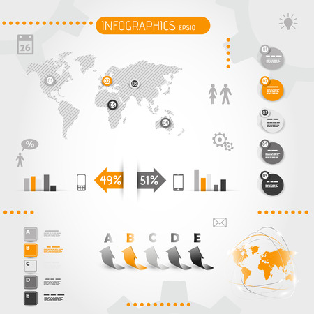 square orange infographics with icons. infographic concept.