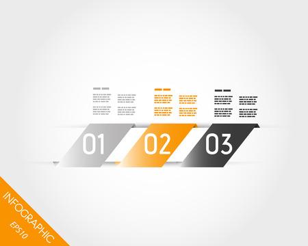 three orange oblique stickers. infographic concept. 向量圖像
