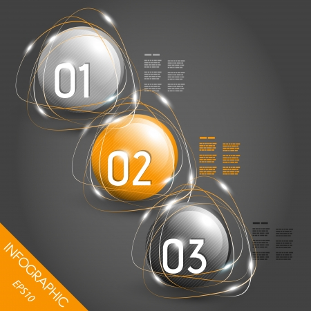 three orange shiny striped infographic gloge with numbers. infographic concept. Vector