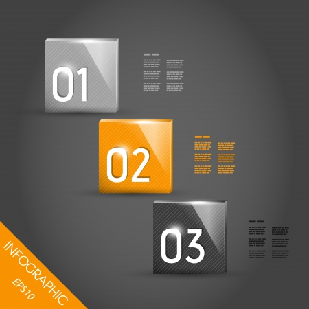 three orange: three shiny orange striped infographic squares with numbers. infographic concept. Illustration