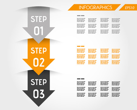 three orange infographic arrows. infographic concept. Vector