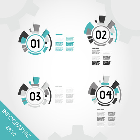 prospectus: turquoise abstract technical infographic rings with numbers. infographic concept. Illustration